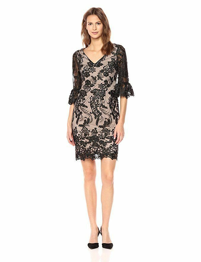 ADRIANNA PAPELL EMBROIDERED LACE BELL FLOUNCE SLEEVE SHEATH DRESS sz 10