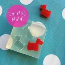 SILICONE EARRING SCOTTIE DOG MOLD - Resin JewelleryMold Jewelry Earrings Moulds