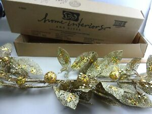 "New  Homco Home Interiors Gold with Sequins Greenery Swag Spray 24"" Long"