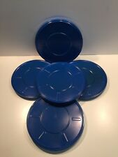 "Lot of 5 Vintage 16mm Blue Metal Film Reel Cans 10 3/4"" 800ft New"