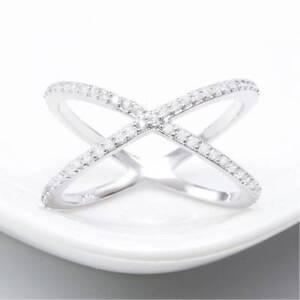 Fashion-Silver-Jewelry-Criss-Cross-CZ-Micro-Pave-Setting-X-Shape-Ring-Size-6-9
