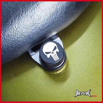 Punisher skull logo emblem seat bolt - Fits Harley Davidson Softail Deluxe FLSTN