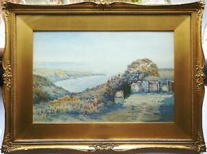 G-S-PENDLEBURY-SIGNED-ANTIQUE-WATERCOLOUR-PAINTING-PORT-ST-MARY-ISLE-OF-MAN