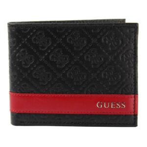 Guess Men's Wallet Leather Credit Card ID Passcase Billfold Black 31GU13X008