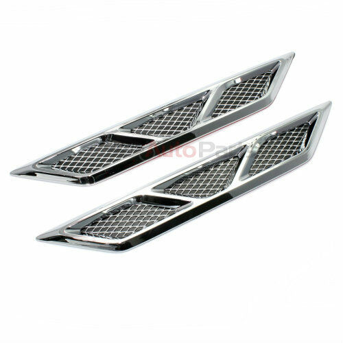 2 Universal Chrome Side Fender Air Flow Mesh Medium Vents for Car-Auto-Truck-SUV