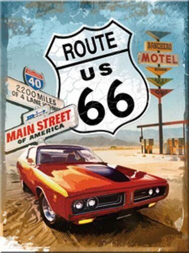 Route 66 Car Auto Amerika USA Nostalgie 6x8 cm Blech Kühlschrank Magnet EMAG22