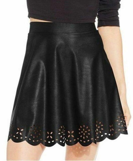 New XS STOOSH Chic Faux Leather Geo Laser Cut  A-line Womens Mini Skirt Burgundy