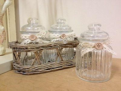 Three Ribbed Glass Jars in Wicker Basket Caddy French Vintage Food Nuts Storage