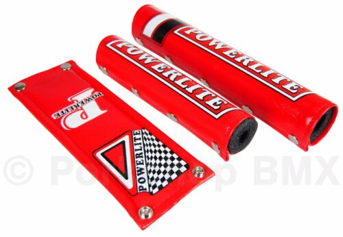 Officially licensed Powerlite 3 Piece VINYL old school BMX Bicycle Padset RED