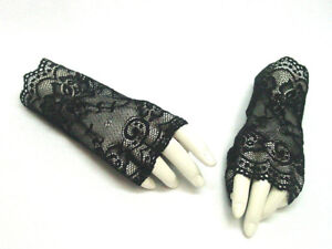 Fingerless-Gloves-Black-Lace-Victorian-Gothic-Steampunk-Vintage-style-One-Size