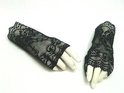 Fingerless Gloves Black Laceup Victorian Gothic Steampunk Vintage style One Size