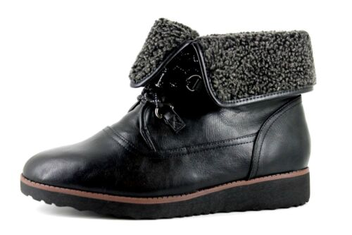 Evans Ada Womens UK 10 EEE Black Lace Up Fleece Lined Lace Up Ankle Boots