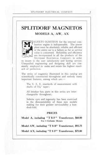 AW AX Instructions /& Parts List Manual #906 Splitdorf Magnetos Models A