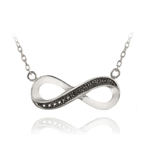 2 Colors Sterling Silver Diamond Accent Infinity Necklace