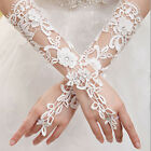 Fashion White Bridal Lace Flower Rhinestones Fingerless Gloves Wedding Party
