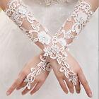 Fashion White Bridal Lace Flower Rhinestones Fingerless Gloves Wedding Party