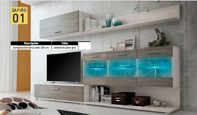 Mueble de TV completo modelo Zafiro con leds color Andersen-pino gris ref-01...