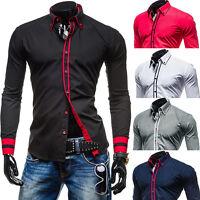 New Stylish Mens Slim Fit Casual Shirt Shirts Top Long Sleeve S M L XL XXL 8 14