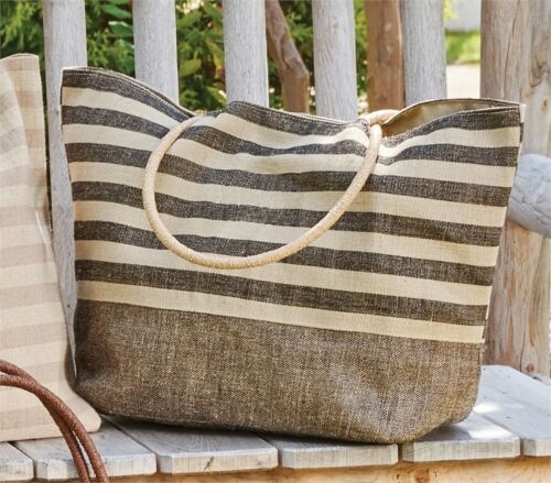 Black Stripe Jute Shoulder Tote Bag Black//Tan Canvas Park Designs Embroider