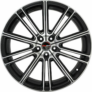 4 GWG Wheels 22 inch Black Machined FLOW Rims fits FORD MUSTANG GT 2005 - 2018