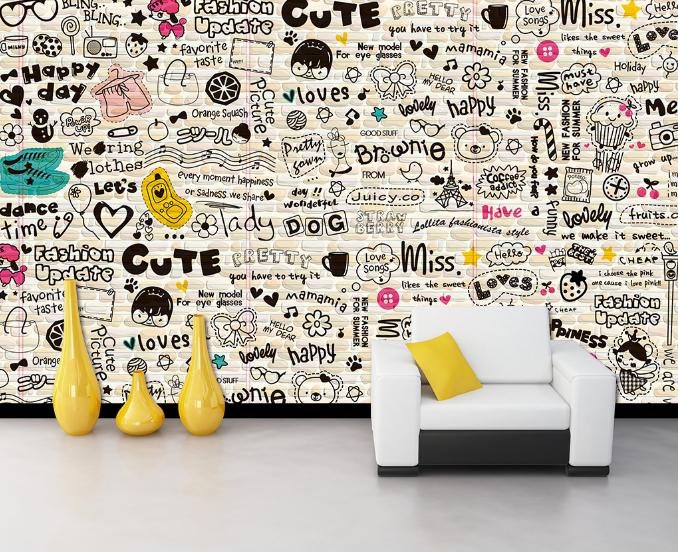 3D Süßes Gekritzel 68 Tapete Tapeten Mauer Foto Familie Tapete Wandgemälde