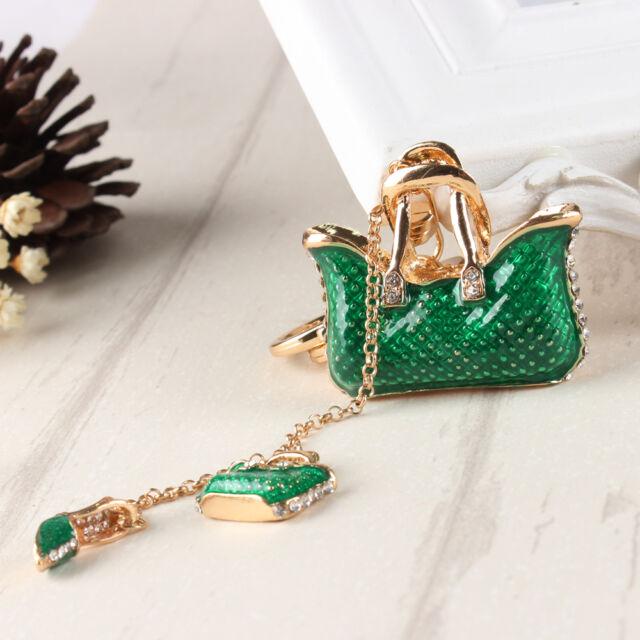 Two Green Handbag High Heel Shoe Fashion Charm Crystal Purse Key Chain Gift
