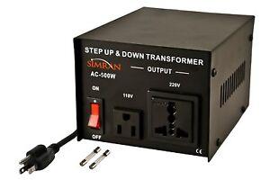 Simran AC-500 Step Up/Down Voltage Converter Transformer 110V/220V-500-watt