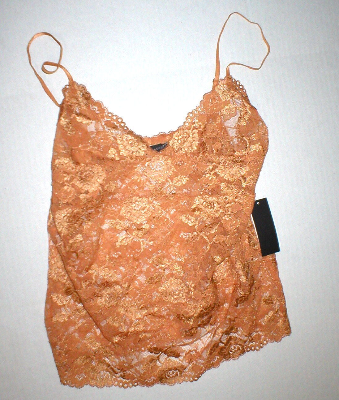 NWT New Designer Josie Natori Lace Camisole Top Womens Sheer Copper M Adjustable