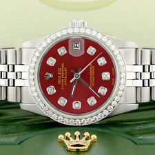 Rolex Datejust 31mm S/S Jubilee Women's Watch with Red Dial & Diamond Bezel