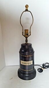 Vintage Wildwood Coffee Canister Tin Table Lamp