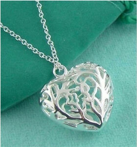 2017-Free-Shopping-New-Silver-Chains-Heart-Necklace-Gift-Box