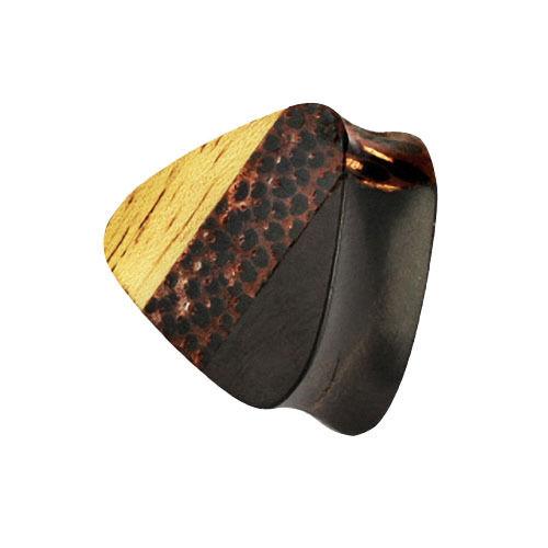 Bollos oreja Plug Triangle triple marrón madera