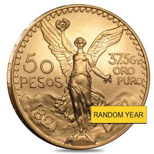 Sale Price - 50 Pesos Mexican Gold Coin AU/BU (Random Year)