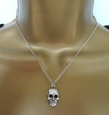 """Fab Skull Pendant and Chain Necklace in Antiqued Silver Tone finish 16 - 18"""""""