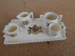 Crested-Ware-Gemma-China-Miniature-Tray-and-tea-ware-royal-coat-of-Arms-13cms