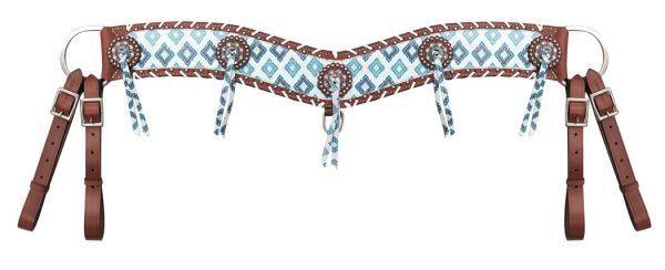 Showman marrón y verde azulado impresión Diamante Navajo 4  Ancho Cadena Conchos Collar de disparo