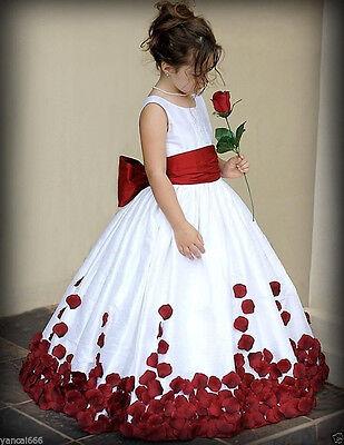 Rose Petals Flower Girl Dress Wedding Bridesmaid Party Dress size:1-14