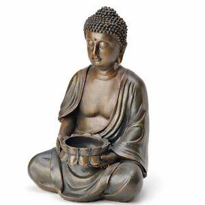 (1182) Deko BUDDHA Teelichthalter Figur Statue Skulptur FENG SHUI 23 cm Garten