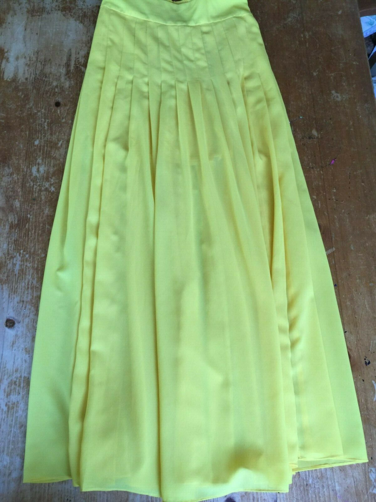 Maeve Anthropologie Women's Zocalo Maxi Skirt Yellow Long Pleated Small B23