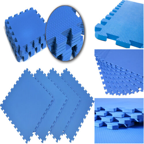 10PCS BLUE INTERLOCKING EVA SOFT FOAM MAT KIDS PLAY GYM FLOOR TILES 30cm x 30cm
