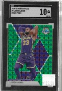 Lebron James 2019 Panini Mosaic green prizm 1st lakers SGC 10 - Lakers