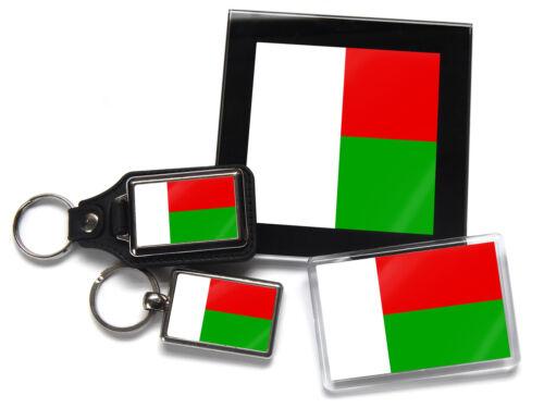 Madagascar Drapeau National Couleurs Chrome de Qualité Porte Clé Photo