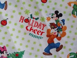 image is loading disney christmas fabric mickey minnie pluto goofy quilting - Disney Christmas Fabric