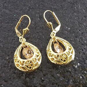 18K-Gold-Filled-Stylish-Italian-Dangle-Morganite-18ct-GF-Drop-Earrings-40mm