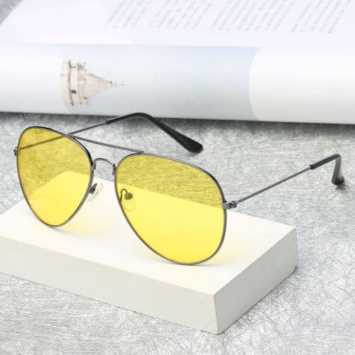 UV400 Men Sunglasses Driving Night Vision Sun Glasses Yellow Lens Aviator Unisex