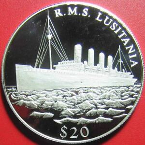 2000-LIBERIA-20-SILVER-PROOF-034-R-M-S-LUSITANIA-034-SHIP-LEGENDS-OF-THE-OCEANS-RARE