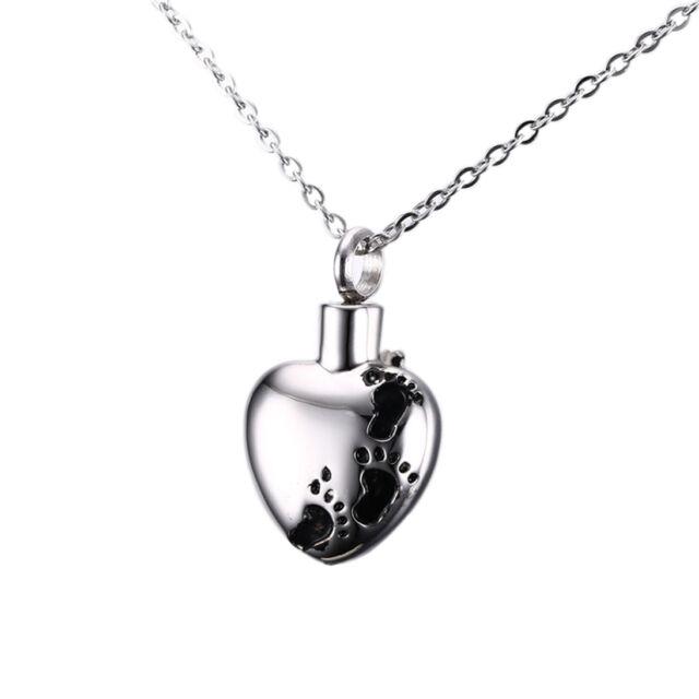 Stainless Steel Heart Shape Child Cremation Memorial Keepsake Urn Pendant