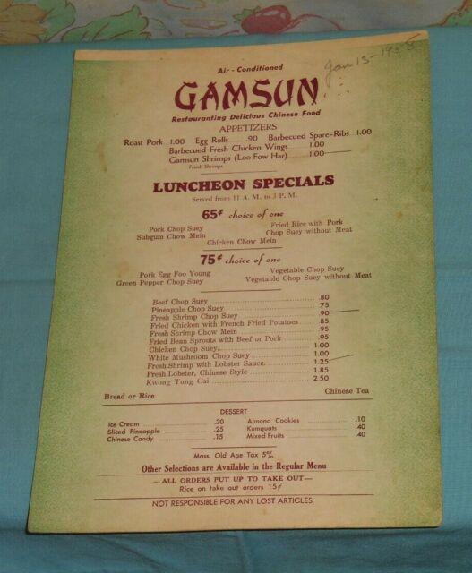 vintage gamsun chinese restaurant lunch menu massachusetts