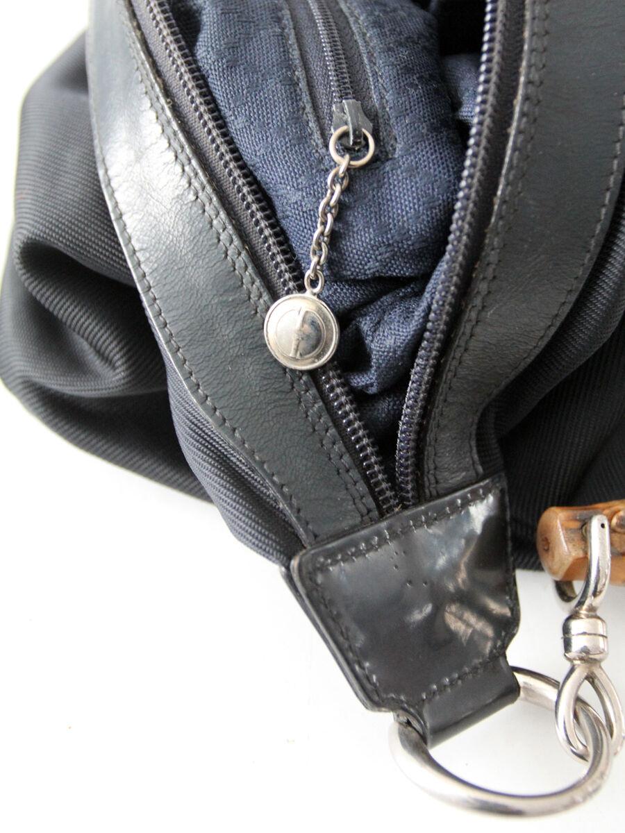 Gucci diana bag with bamboo handle, black nylon s… - image 9