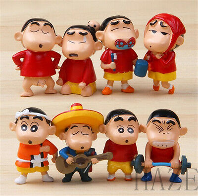 Set of 8pcs Crayon Shin-chan Cartoon Action Toy Figure AA*